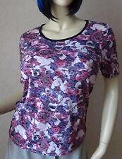 """Fabiani T-Shirt """"Amsterdam"""" mit Rosen-Druck, Strass-Applikation lila-pink Gr.38"""