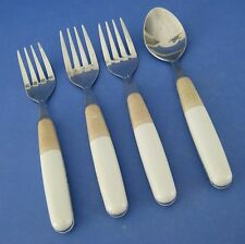 Pfaltzgraff 3 Salad Forks 1 Teaspoon White Tan Plastic Handle Stainless Steel