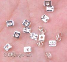 Wholesale 500pcs Plated Silver Ear Post Butterfly Back Earring Stopper
