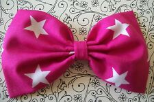 "HANDMADE 5"" HOT PINK WHITE STAR COTTON FABRIC BOW HAIR CLIP ROCKABILLY RETRO"