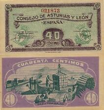 40 Céntimos. Consejo de Asturias y León. Sin serie. Nº 021873. Tamaño 92x45 mm.