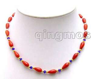"""SALE 5*9mm Drop Red High Quality natural Coral &rhinestone 17"""" necklace-nec5750"""