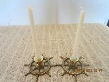 Nautical Decor Brass Ship Wheel Candleholders