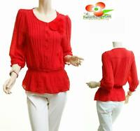 Women 3/4 sleeve Red Chiffon Twisted Florettes Waist Cinched Blouse Shirt Top