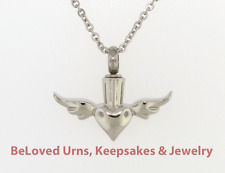 """Heart With Wings Pendant Cremation Jewelry Keepsake Urn - Funnel & 20"""" Necklace"""