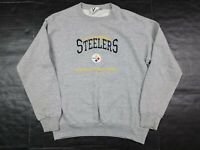 Vtg 90s Pittsburgh Steelers NFL Lee Sport Embroidered Gray Sweatshirt Size M USA