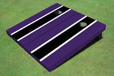 Black And Purple Matching Long Stripe Custom Cornhole Board