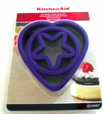 New KitchenAid Gourmet Cookie Cutters (Set of 3), Purple Heart, Circle, Star