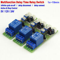 DC 5V 12V 24V Infinite Cycle Time Delay Relay Timer Switch ON/OFF Module 1-15min