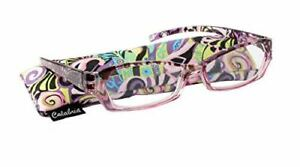 Calabria 748 Bold Print Reading Glasses w/Matching Case in Pink +1