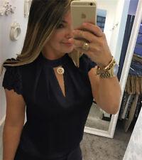 36-50 Damen Sommer Kurzarm Bluse T Shirts Spitze Top V-Ausschnitt Hemd Oberteile