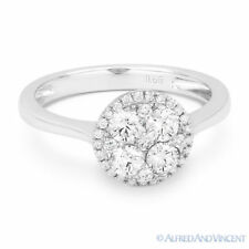 0.68 ct Round Brilliant Cut Diamond Pave 18k White Gold Right-Hand Promise Ring