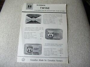 IH International McCormick baler twine specification sheet brochure