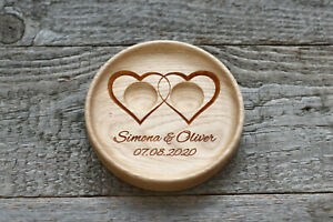 """Personalized Ring bearer pillow alternative, Wedding ring plate """"Two Hearts"""""""
