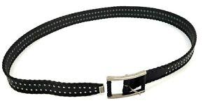 Harley-Davidson Black Studded/Braided Leather Belt Silver Hardware 1.5 Men's 38