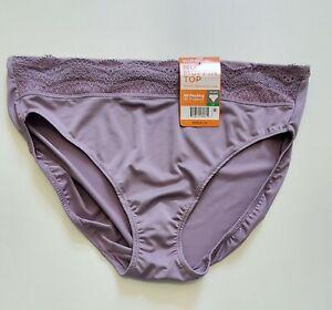 Warner's No Pinching No Problems Lace Hi Cut Panty Purple RT7401P Sz 7/L - NWT