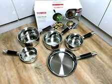 Tower Essentials Saucepan 5 Piece Set with Tempered Glass Lids Stainless Steel