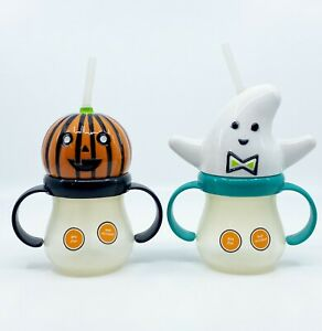 HALLOWEEN KIDS CHILDS TODDLERS GHOST AND PUMPKIN HEAD SIPPY CUPS NEW (2)