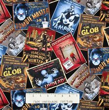 Theater Fabric - Halloween Movie Poster Toss Black - Timeless Treasures 23""