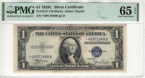 1935 C $1 SILVER CERTIFICATE STAR NOTE FR.1612* PMG GEM UNC 65 EPQ (688B)