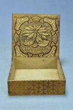 Antique 1915 FLEMISH ART PYROGRAPHY HANDERCHIEF BOX FACTORY STAMPED OLD #05352