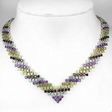 RARE GENUINE 3mm/426ps AMETHYST,GARNET,PERIDOT,CITRINE,TOPAZ 925 SILVER NECKLACE
