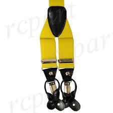 New Y back Men's Vesuvio Napoli Suspenders Braces clip on formal party yellow
