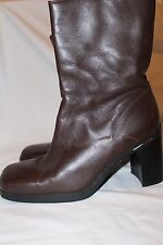 """Tommy Hilfiger Brown Leather Boots Square Toe Mid-Calf 8"""" Shaft Heel Size 10M"""
