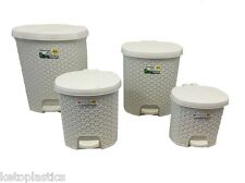 CREAM RATTAN EFFECT PEDAL BIN - AVAILABLE IN 4 SIZES - KITCHEN, BATHROOM, STUDY