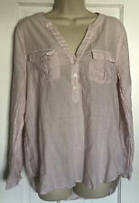 Joie Womens Pink Cotton V-Neck Pink White Popover Long Sleeve Blouse Top Size M
