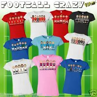 VIPwees Ladies T-Shirt Football Club Legends Inspired Caricatures Choose Design