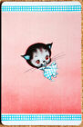 DECO - CAT WITH BLUE BOW -ON PINK -BLUE BORDER- SINGLE VINTAGE SWAP PLAYING CARD