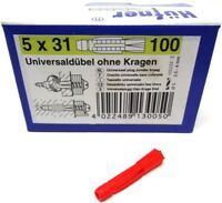 600 x HÜFNER Universaldübel 5 x 31 mm ohne Kragen Mehrzweckdübel NEU