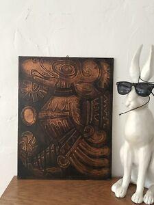 Mid Century Modern Artwork Original Copper Art Original 1970s
