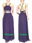Purple Formal Evening Prom Bridesmaid Dress Chiffon Size 12 14 New