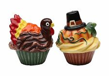 Holiday Pumpkin and Turkey Cupcake Pair Salt and Pepper Shakers Thanksgiving