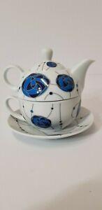 Leonardo Porcelain Tea For One Teapot Cup & Saucer Set MacIntosh Style Design