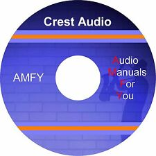 Crest service manuals, owners manuals and schematics on 1 DVD, all in pdf