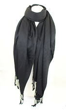 Noir Haute Qualité Pashmina Étole Châle Foulard Enveloppant Hijab 100% Viscose