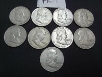 Lot Franklin Half Dollar US Coin 90% Silver Bullion $4.50 Face 1952-D 1950-D