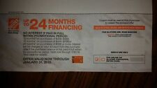 Home Depot Coupon 24 Months No Interest In-store Or On-line! Expires 1-31-2018