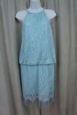 SLNY SL Fashions New York Dress Sz 8 Sage Silver Lace Evening Cocktail Dress