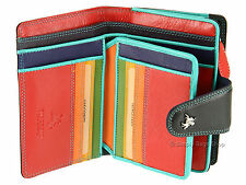 Visconti Bifold Womens Soft Leather Purse Wallet In Black / Multi Colour - SP31