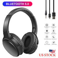 Adjustable Wireless Bluetooth 5.0 Headsets Stereo Headphones Over Ear Earphones