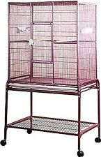 Flight Bird Cage With Stand Size 32x21x63 in Color Burgundy