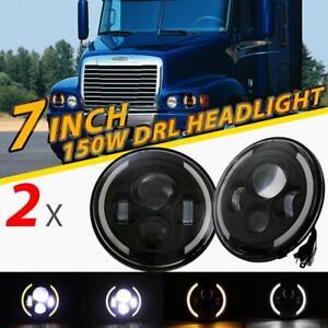 "2PCS 7""INCH LED Headlight Hi/Lo Beam Halo Ring DRL For Jeep Wrangler CJ JK"