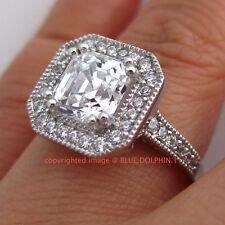 Real Genuine Solid 9K White Gold Engagement Wedding Ring Asscher Cut Lab Diamond
