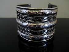 Vintage Wide Silver Plated Etched Scroll Cuff Bracelet Raised Relief Design