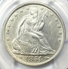 1854 Arrows Seated Liberty Half Dollar 50C Coin - PCGS AU Details - Rare Date!