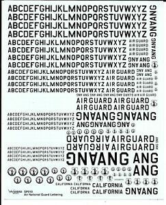 Warbird Ang Air National Garde Scripture & Badges, Décalques 1/72, 1/48, 1/32